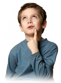 Picture of a young boy thinking.